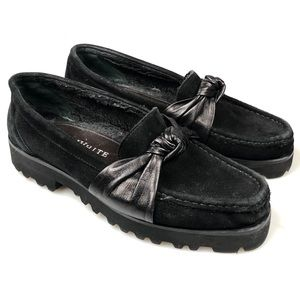 Ron White Rita black suede penny loafers 6.5